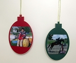 Tree Ornaments Hanging Photos 2 Pair (two red & two green)